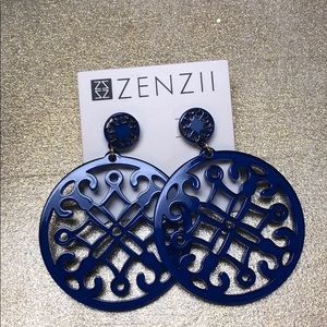 Zenzii royal blue statement earrings